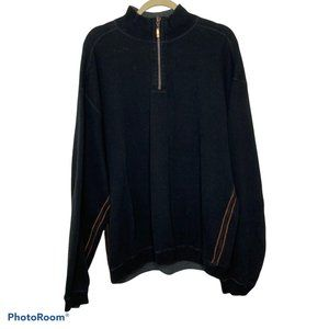 Tommy Bahama Black 1/4 Zip Pullover Sweater XL